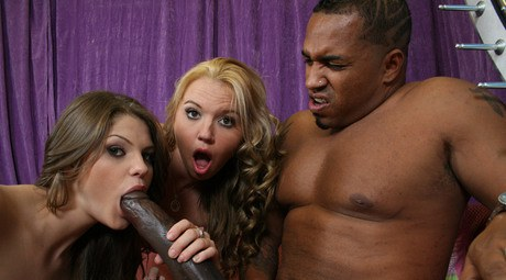 Hotties Lindsey and Gal holds a excited gangbang with a mammoth boner