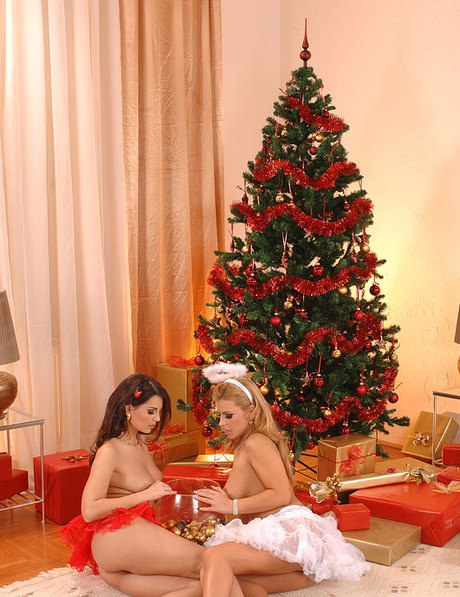 Pleasing rear lapping lesbos earn in the Christmas spirit dildoing with slit