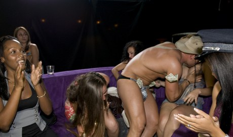 Dick unquenchable females devouring on strippers' anacondas at the Cfnm revelry