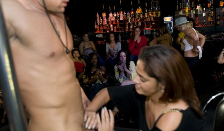 Wonderful belles take turns absorb a stripper's tough manhood at the Cfnm spree