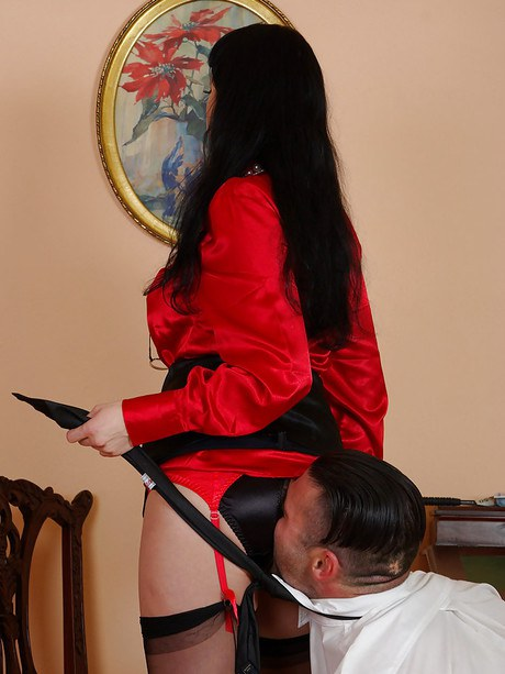 Mature femdom in hosiery entertains derriere lapping and torments her manslave