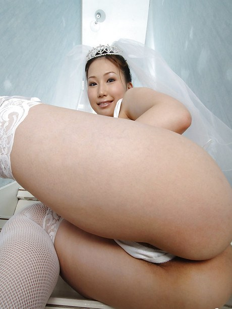 Humongous busted asian bride Ai Sayama stripping off her robe