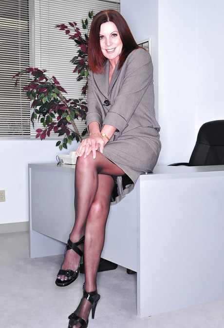 Mature boss woman Magdalene St Michaels spreading hairy pussy in office  884521