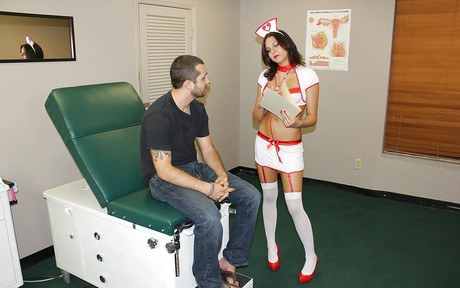 Filthy youth wet-nurse in hosiery dispatches her patient a appetizing handjob