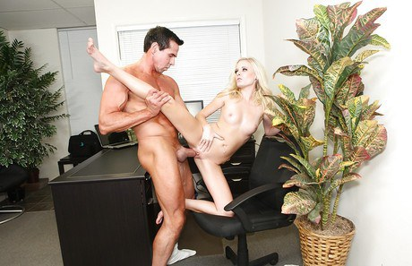 Libidinous office woman with clean-shaven beaver Elaina Raye gets stamped hard-core
