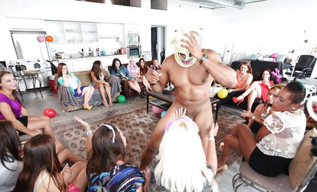 Unashamed demoiselles delight a house Cfnm bacchanal with well-hung man stripper