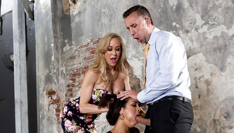 Milf honey Abbey Lee Brazil and her chum Brandi Love screw one chap