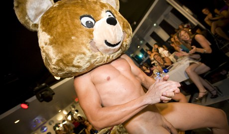 Costumed floozy do fellation to a Dancing bear on a forcible Cfnm bacchanal
