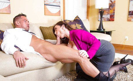 Astonishing milf Sara Jay, a passionate jaguar relishing the seed in maw in the reality unmask