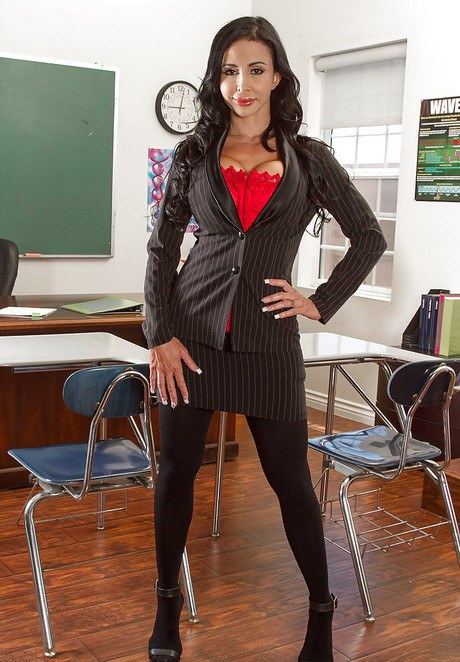 Buxom sex teacher in stockings Audrey Bitoni shows a student how to fuck № 1031729 без смс