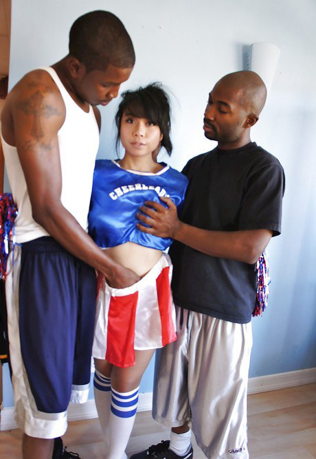 Hardcore interracial bang motion with miniature Asian May Lee fornication two Bbcs