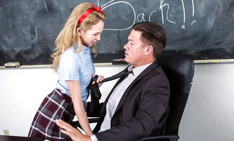 Scrawny youth nymph Angel Smalls giving and receiving oral sex in class