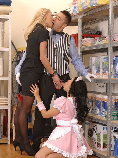 Fair-haired Euro darling and the chambermaid tag crew her husband with a doublepumped blowjob