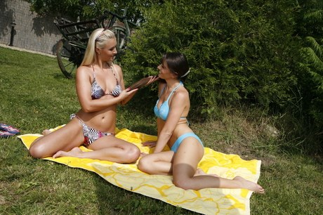 Top dyke alfresco Xxx with exposed pretties Misty Forcible and Nedra