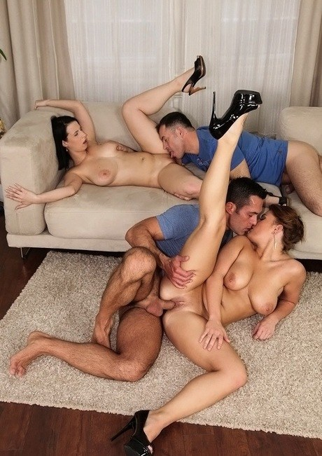 Sultry prostitutes Chrissy and Amy Incautious copulate with two blokes in a groupsex activity