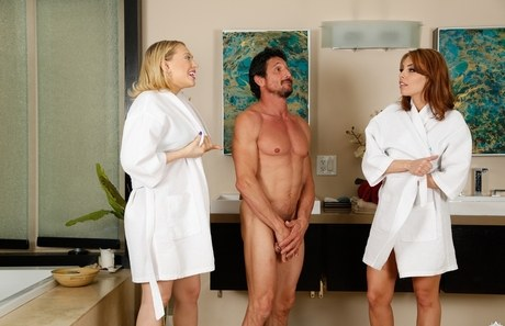 2 darling massaging attendants soap up a customer in bath-tub prior absorption his phallus