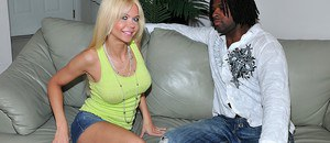 Hot blonde MILF babe Barbi Sinclair shows her fantastic body as she strips and gets fucked by horny black hunk.