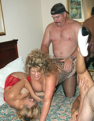 Three mature fattys in stockings pleasing one cock with blowjobs and ass fucking