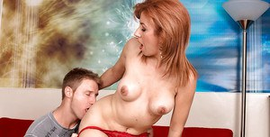 Redhead mature in red panties Mikela Kennedy enjoys being banged by a stiff cock