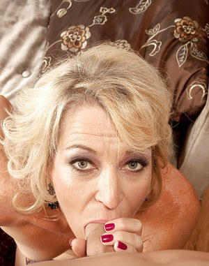 Mature blonde in hold-up stockings Tina Tosh sucking and riding a huge cock