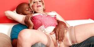 Horny granny Miranda Torri stripping from panties and nailed on a huge black cock