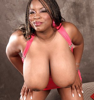 Black bbw with huge melons Mianna Thomas flashing and squeezing her meaty juggs