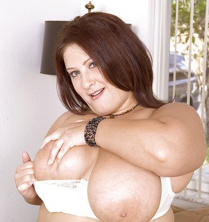 Brunette fatty Mandy Mason flashing fat boobs and ass in solo shoot