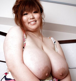 Chubby asian babe Riria Misaki demonstrating tight pussy and puffy breasts