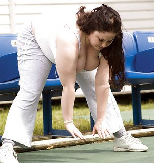 Raunchy fatty Monique L'Amour doing sport exercises before getting fucked