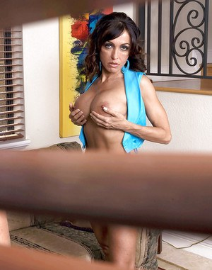 Insanely hot busty mom with shaved pussy Christina Cross jumping on a hard cock