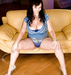 Brunette fatty Denisa loves kissing and licking her big boobs and nipples