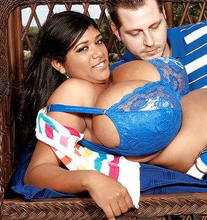 Black fatty Kristina Milan takes off lacy bra to have fun with her big melons
