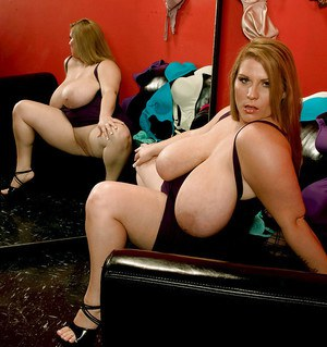 Stunning fatty Renee Ross tries on sexy lingerie in front of the mirror
