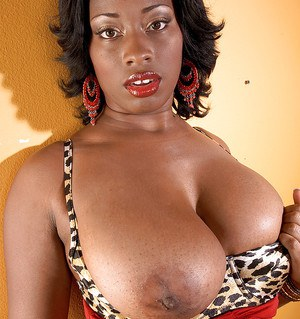 Fat black girl with great boobs Danesha Marquel stripping from leopard underwear