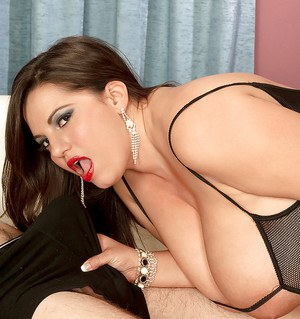 Bigtitted bbw in sheer lingerie Melonie Max pleasing a monster cock