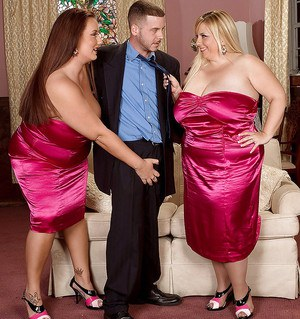Luscious bbw hotties have their boobs bouncing in steamy hardcore threesome