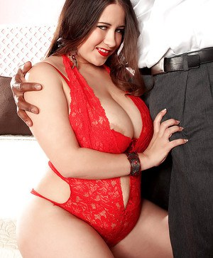 Hot bbw in red lingerie Alanna Ackerman denudes her juggs for interracial foreplay