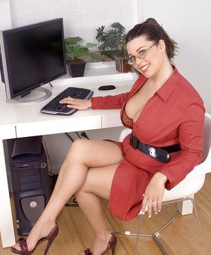 Fat office girl in glasses Dallas Dixon revealing fat boobs and shaved snatch