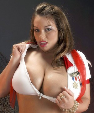 Chubby Victoria Lane spreads and gets banged while in uniform.