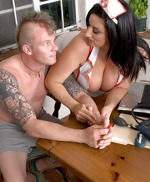 Kitty Lee does an amazing blowjob in a nurse's uniform.