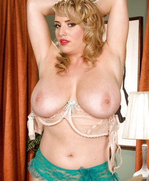 Fat girl in stockings and sheer underwear Maggie Green showing her plump parts