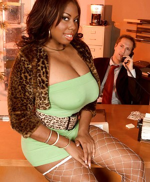 Fat black chick Candace Von gives head to her horny boss.