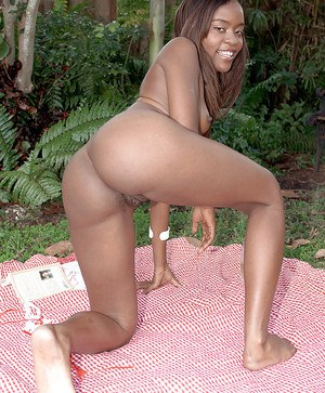 Ebony amateur with tiny tits Ashley Johnson gets drunk and horny outdoor