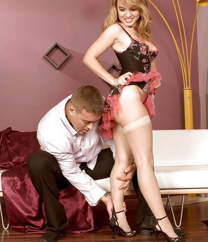 Blonde Natalia Jay gets it from her hung man on the sofa.