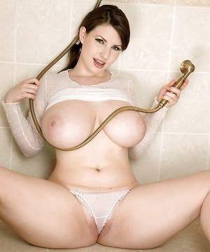 Cute plumper girl Karina Hart showing big wet tits and pussy in the shower