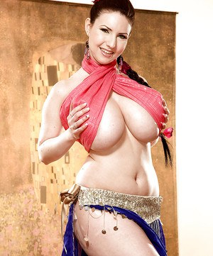 Busty Belly Dancer Karina Hart Flashing Fat Boobs And Slides Dildo In Her Snatch