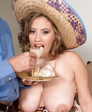 Latin plumper Selena Castro enjoys tacos and meaty dick between her fat tits