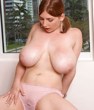 Chubby girl in jean skirt Christy Marks reveling boobs and pussy