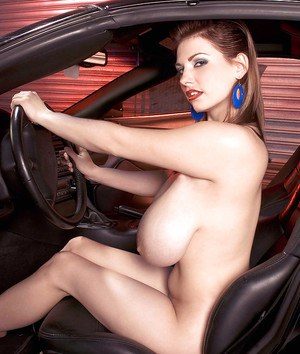 Hot plumper Christy Marks stripping from racing leotard and masturbating in a car