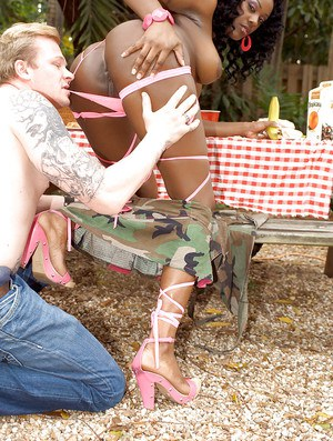 Sexy black girl in heels Barbie Banx screwed with a huge monster cock
